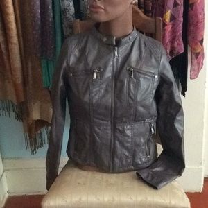 Charcoal Faux Leather Jacket